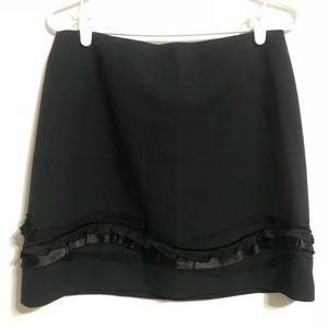 T TAHARI Womens Ruffled Skirt Dark Blue Skirt Sz 4